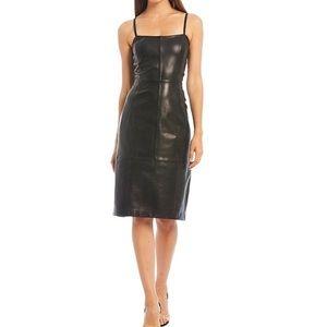 Gianni Bini Bianca Square neck Leather Slip Dress